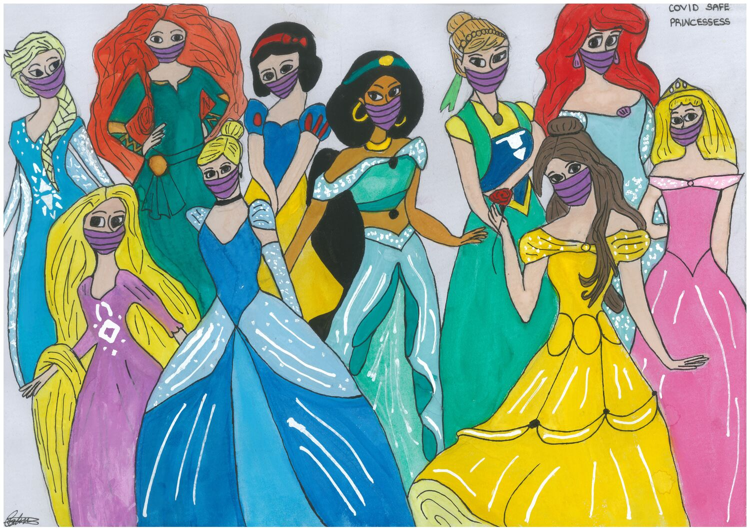 Covid Safe Princesses By Caitlin